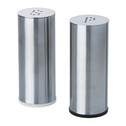PLATS - Salt/pepper shaker, set of 2, stainless steel
