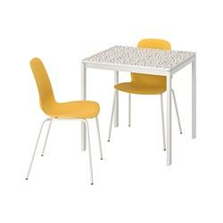 LEIFARNE/MELLTORP - Meja dan 2 kursi, pola mosaik putih/Broringe putih