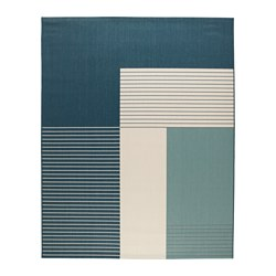 ROSKILDE - Rug, flatwoven, in/outdoor green-blue