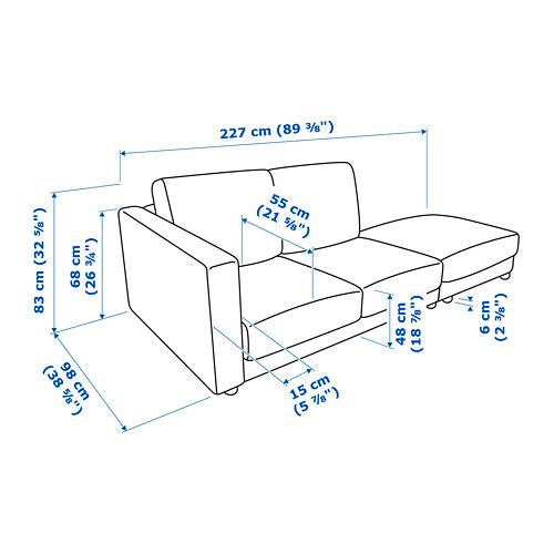 VIMLE sofa sudut, 3 dudukan