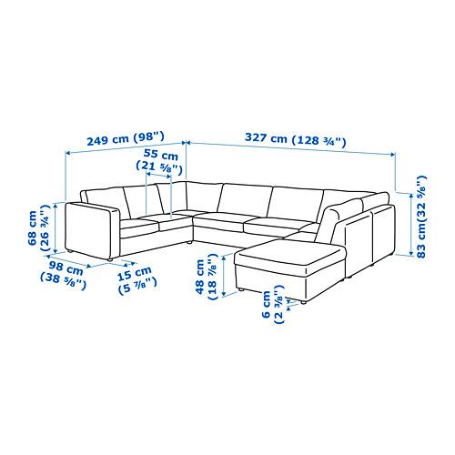 VIMLE sofa bentuk u, 6 dudukan