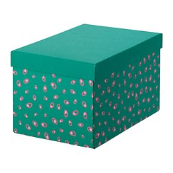 TJENA - Storage box with lid, green dotted