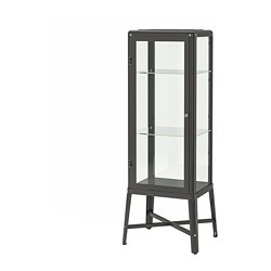 FABRIKÖR - Glass-door cabinet, dark grey