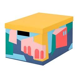 TJENA - Storage box with lid, yellow