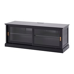 MALSJÖ - TV bench with sliding doors, black stained, 160x48x59 cm
