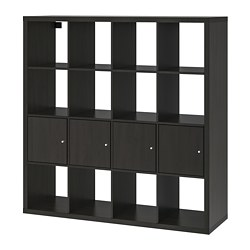 KALLAX - Shelving unit with 4 inserts, black-brown