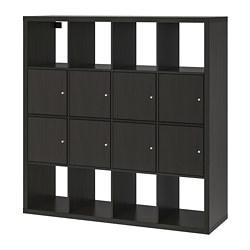 KALLAX - Unit rak dengan 8 sisipan, hitam-cokelat