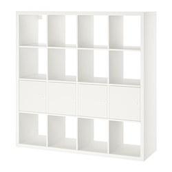 KALLAX - Unit rak dengan 4 sisipan, putih