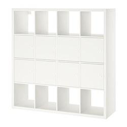 KALLAX - Unit rak dengan 8 sisipan, putih