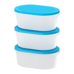 JÄMKA - Food container, transparent white/blue