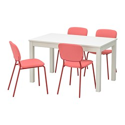 KARLJAN/LANEBERG - Table and 4 chairs, white/red red