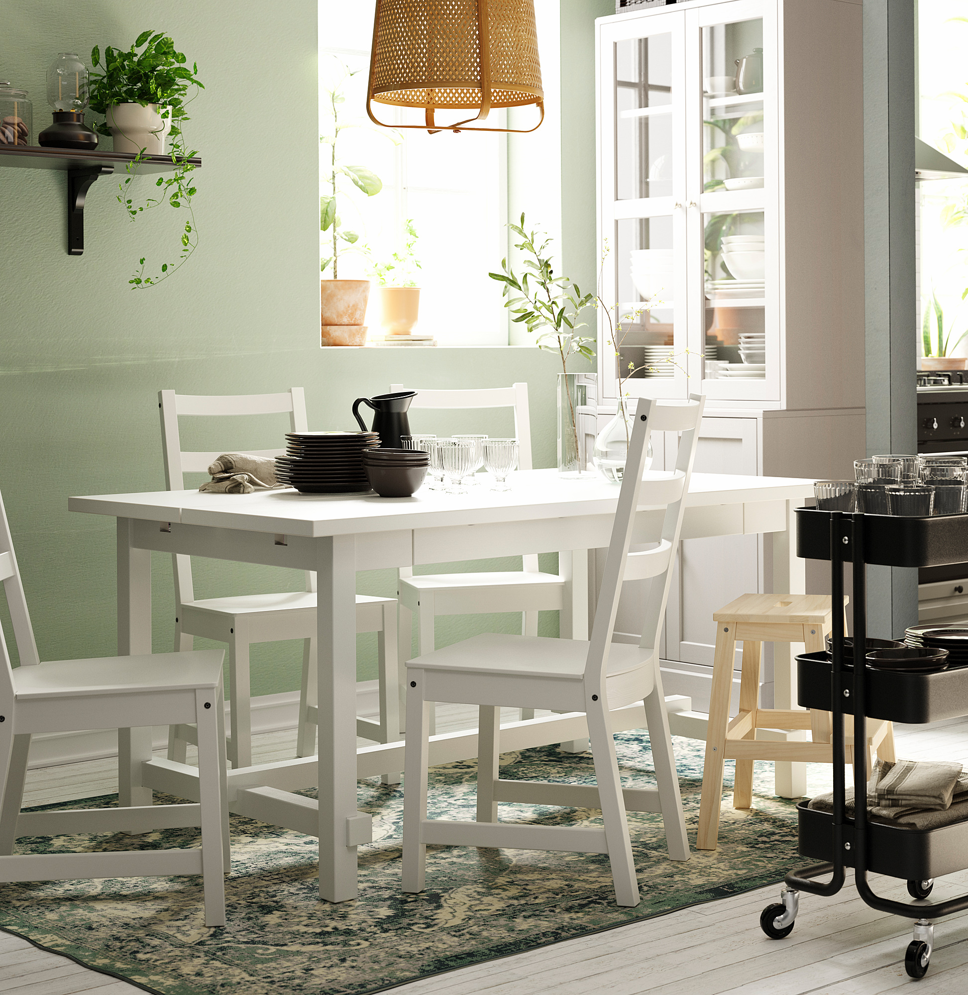 Nordviken Extendable Table White Ikea Indonesia