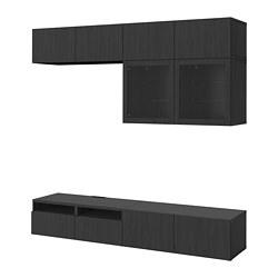 BESTÅ - Kombinasi penyimpanan TV/pintu kaca, Lappviken/Sindvik kaca bening hitam-cokelat