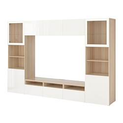 BESTÅ - TV storage combination/glass doors, white stained oak effect/Selsviken high-gloss/white clear glass