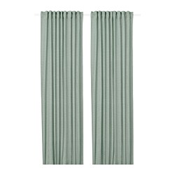 ORDENSFLY - Curtains, 1 pair, white/green