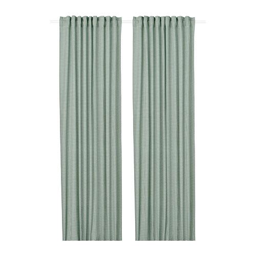 ORDENSFLY - curtains, 1 pair, white/green, 145x250 cm   IKEA Indonesia - PE743518_S4