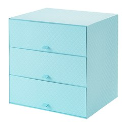 PALLRA - Mini chest with 3 drawers, light blue