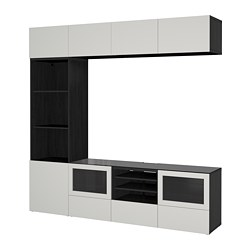 BESTÅ - TV storage combination/glass doors, black-brown Lappviken/light grey clear glass