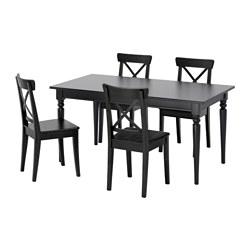 INGATORP/INGOLF - Meja dan 4 kursi, hitam/cokelat-hitam