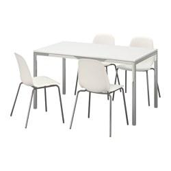 TORSBY/LEIFARNE - Meja dan 4 kursi, high-gloss putih/putih