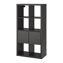 KALLAX - Unit rak dengan pintu, hitam-cokelat