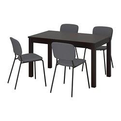 LANEBERG/KARLJAN - Meja dan 4 kursi, cokelat/abu-abu tua abu-abu tua