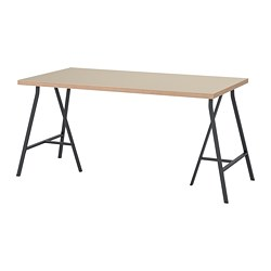 LERBERG/LINNMON - Table, beige/grey