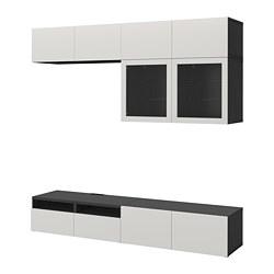 BESTÅ - Kombinasi penyimpanan TV/pintu kaca, hitam-cokelat Lappviken/Sindvik abu muda kaca bening