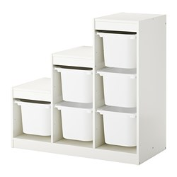 TROFAST - Storage combination with boxes, white