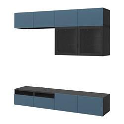 BESTÅ - Kombinasi penyimpanan TV/pintu kaca, hitam-cokelat Valviken/biru tua kaca bening