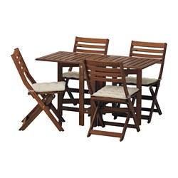 ÄPPLARÖ - Table+4 folding chairs, outdoor, brown stained/Hållö beige