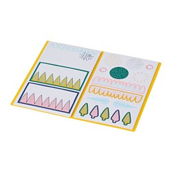 LANKMOJ - Folder with stickers, white blue/pink