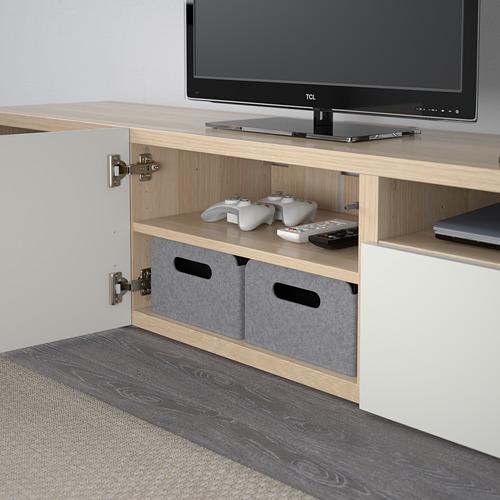 BESTÅ - meja TV, efek kayu oak diwarnai putih/Selsviken high-gloss/putih, 180x40x38 cm | IKEA Indonesia - PE591116_S4