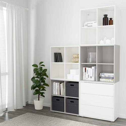 EKET - kombinasi kabinet dengan kaki, putih/abu-abu muda, 140x35x212 cm   IKEA Indonesia - PE617811_S4