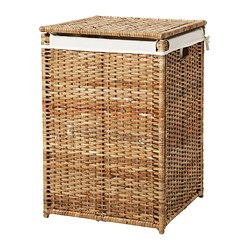 BRANÄS - Laundry basket with lining, rattan