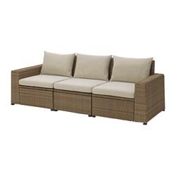 SOLLERÖN - SOLLERÖN, sofa mdlr tiga ddkan, luar ruangan, cokelat/Hållö krem, 223x82x82 cm