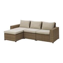 SOLLERÖN - Sofa mdlr tiga ddkan, luar ruangan, dengan bangku kaki cokelat/Hållö krem