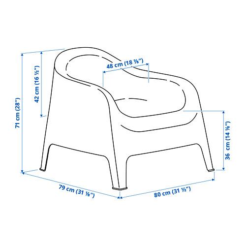 SKARPÖ kursi berlengan, luar ruang