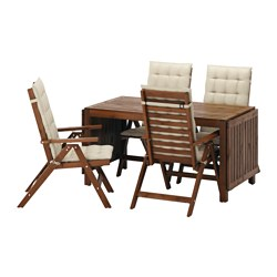ÄPPLARÖ - Meja+4 kursi recliner, l.ruang, diwarnai cokelat/Hållö krem
