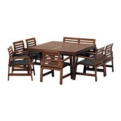 ÄPPLARÖ - Meja+6 kursi berlengan+bangku, l.rg, diwarnai cokelat/Hållö hitam