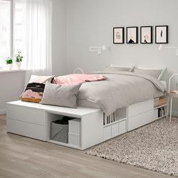 PLATSA - Bed frame with 4 drawers, white/Fonnes