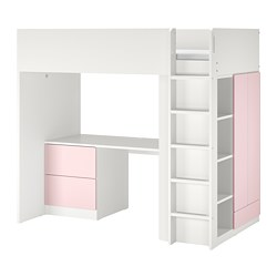 SMÅSTAD - Loft bed, white pale pink/with desk with 3 drawers, 90x200 cm