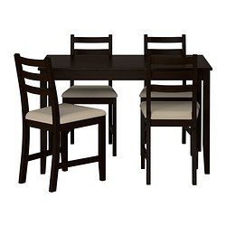 LERHAMN - Table and 4 chairs, black-brown/Vittaryd beige