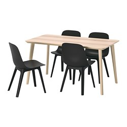 ODGER/LISABO - Table and 4 chairs, ash veneer/anthracite