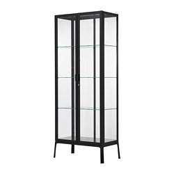 MILSBO - MILSBO, glass-door cabinet, anthracite, 73x175 cm