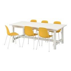 LEIFARNE/NORDVIKEN - Meja dan 6 kursi, putih/kuning tua putih
