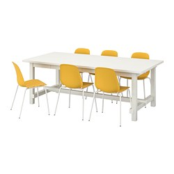 LEIFARNE/NORDVIKEN - Table and 6 chairs, white/dark yellow white
