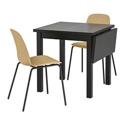 LEIFARNE/NORDVIKEN - Meja dan 2 kursi, hitam/Broringe hitam