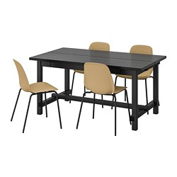 LEIFARNE/NORDVIKEN - Meja dan 4 kursi, hitam/Broringe hitam