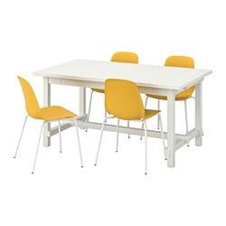 LEIFARNE/NORDVIKEN - Table and 4 chairs, white/Broringe white